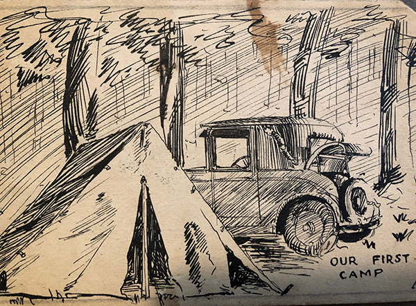 1928 Alexander Goodman sketch of a campsite at Forest Park, Illinois.