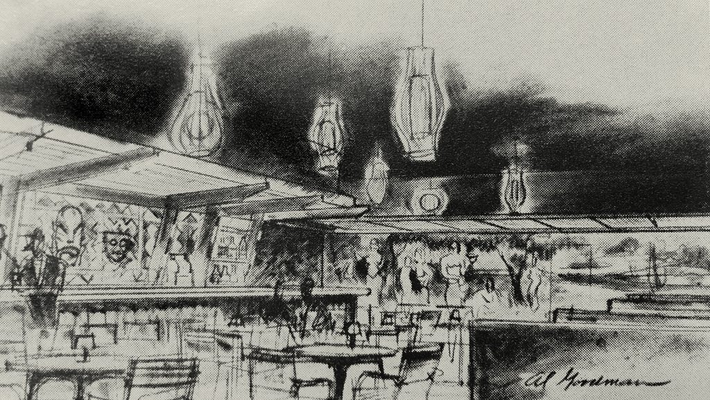 A sketch of The Tahitian Room from 1960.