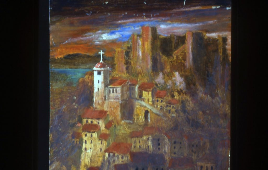 A painting of a cathedral in Spain on a hill with dark skies.